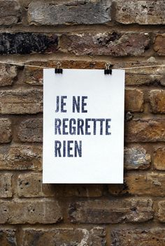 Je ne regrette rien print on white paper par lucktest sur Etsy French Words, French Quotes, Words Quotes, Me Quotes, Sayings, Famous Quotes, Motivation, Messages, Statements
