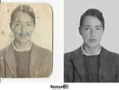 Before and after photo restoration at Restore.tv  #damagedPhotos #photorepair #digital #photorestoration #photocolorization #genealogy #men  #giftideas #photoshop