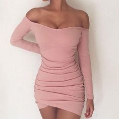 2017 BKLD Long Sleeve Mini Dress Womens Autumn Winter Dresses Women Sexy Party Black Pink Grey Off the shoulder Bodycon Dress Women's Dresses, Cute Dresses, Casual Dresses, Short Dresses, Fashion Dresses, Mini Dresses, Elegant Dresses, Tight Dresses, Dress Outfits