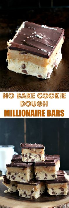 No Bake Millionaire Bars with a rich layer of cookie dough, topped with a thick caramel and finished with chocolate and sea salt.