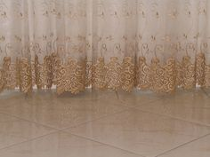 Beautiful gold embroidery on white curtains. Gold Bedroom, Gold Embroidery, White Curtains, Fancy, Interior Design, Luxury, House, Beautiful, White Sheer Curtains