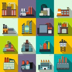 Industrial Building Factory Flat Icons by JuliarStudio Industrial building factory flat icons set for web and mobile devices