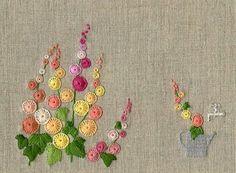 Buttonhole stitch flowers: