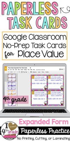 4th grade place value | Place Value for 4th grade | Expanded Form Activity | Task Cards for Math | Google Classroom Ideas Elementary | Practice expanded form with your 4th graders using digital paperless task cards designed to be used with Google Classroom.  24 task cards focusing on Expanded Form.