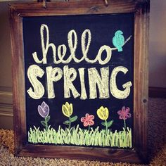 Welcome spring with this cute chalkboard art. Use Wallies peel-and-stick chalkboard sheets to make an easy framed chalkboard. Just cover a piece of cardboard, sized to frame, with Wallies chalkboard and then pop it into a frame! Summer Chalkboard Art, Blackboard Art, Chalkboard Writing, Kitchen Chalkboard, Chalkboard Drawings, Chalkboard Lettering, Chalkboard Designs, Chalkboard Paint, Chalkboard Quotes
