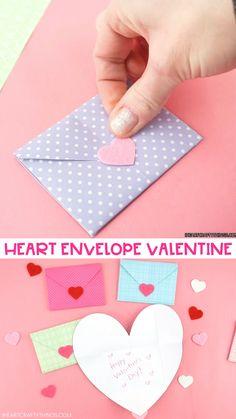 Valentine's Day Paper Crafts, Paper Flowers Craft, Paper Crafts Origami, Valentines Day Cards Handmade, Easy Valentine Crafts, Pinterest Diy Crafts, Instruções Origami, Diy Crafts For Girls, Valentine's Cards For Kids