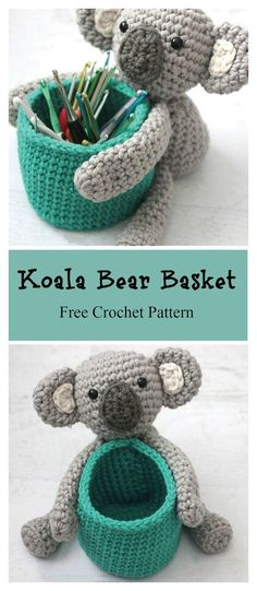 Koala Bear Basket Free Crochet Pattern #freecrochetpatterns #amigurumi #baskets