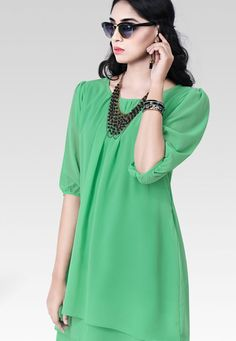 """""""Even if you are alone you wage war with yourself."""" Green #Color Georgette Designer #Top"""