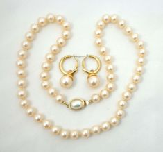 """Carolee Necklace Earrings Pearls 24"""" Cream Strand Gold Pierced 936 #Carolee"""