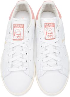adidas Originals - White & Pink Stan Smith Sneakers