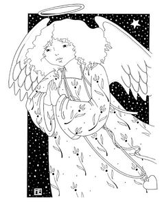 Angel free coloring page from Mary Engelbreit!