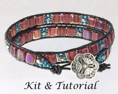 041ea1919a34 Wrap bracelet jewelry making kit with transparent fuschia, square 2 hole  beads. An iris