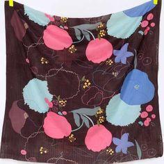 Nani Iro Walz Etude, floral in maroon cotton double gauze fabric - Red Beauty Textiles