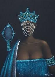 The protective orisha Yamana, Queen of the Sea, with her mirror, and veil shielding humans from her powerful gaze