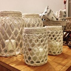 Jam Jar Crafts, Bottle Crafts, Jute Crafts, Diy Arts And Crafts, Crochet Jar Covers, Crochet Waffle Stitch, Rope Art, Sewing Art, Knitting Accessories