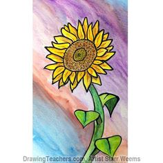 How to draw a sunflower for kids. Sunflowers are great flowers to Draw. Learn how to paint a sunflower with watercolor pencils in this simple step by step lesson by Starr Weems.