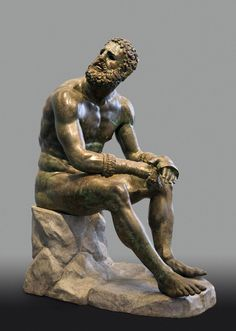 "Exhibition: 'Power and Pathos: Bronze Sculpture of the Hellenistic World' at the J. Paul Getty Museum, Getty Center, Los Angeles. http://artblart.com/2015/10/28/exhibition-power-and-pathos-at-the-j-paul-getty-museum-getty-center-los-angeles/ Art work: Seated Boxer, ""The Terme Boxer"" 300-200 B.C. Greek, from Herculaneum Bronze and copper"