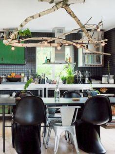 Tree branch chandelier - DIY idea