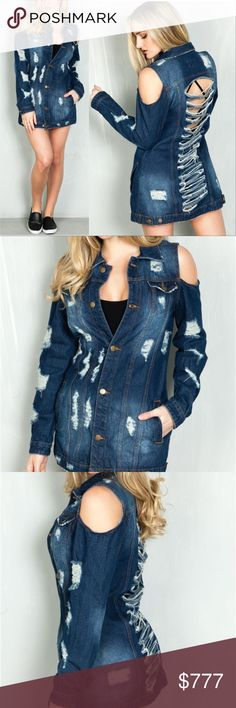 """COMING SOON! DISTRESS/SLASHED BACK DENIM JACKET BRAND NEW BOUTIQUE ITEM PRICE IS FIRM  DENIM JACKET FEATURES: DESIGN IN USA, SPREAD COLLAR DESIGN, LONG SLEEVES WITH SINGLE-BUTTON CUFFS, TWO FLAP POCKETS, STRINGY DISTRESSING DETAIL THROUGHOUT ,SLASHED BACK DETAILS AND COLD SHOULDER DETAILS. TWO WELT POCKETS.  MODEL IS 5'7"""" AND WEARING A SMALL (WAIST 25"""", BUST 32D"""", HIPS 36"""") DESIGN IN USA 100% COTTON . Jackets & Coats Jean Jackets"""