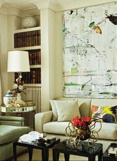You can tell that the Art was the inspiration for the room! Beautiful, airy, pockets of colour.
