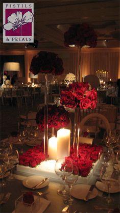 Red Rose Wedding Centerpiece Flower Arrangement (At Turnberry Isle Resort in Aventura, FL) by Pistils & Petals https://www.facebook.com/PistilsAndPetals  https://www.PistilsAndPetals.com