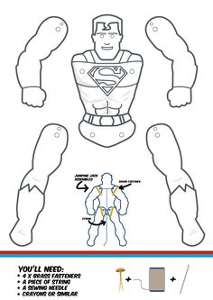 Superman puppet/jumping jack, to color, cut, assmbled Super Hero Activities, Activities For Kids, Paper Puppets, Paper Toys, Cardboard Crafts, Paper Crafts, Anniversaire Wonder Woman, Heros Comics, Marvel Comics