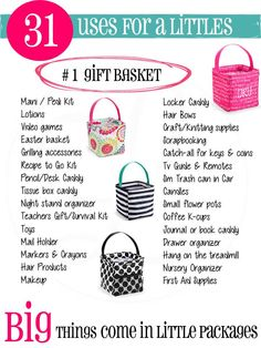 31 uses for Thirty-One's Littles Carry All Caddy! They're just $12 bucks! I LOVE these!! www.mythirtyone.com/mariezito