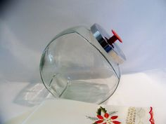 Vintage Chrome and Glass Retro Kitchen Cookie Candy Storage Jar.