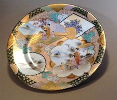 SOLD! NIPPON-Imari-Plate-With-Geisha-Fans-Hand-Painted-With-Moriage-Japan