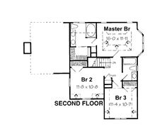 Second Floor Plan of Country   Traditional   House Plan 24654