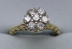 """14K Yellow and White Gold, Antique (ca. 1935) 7 Diamond Cluster Top Ring (""""5"""")  