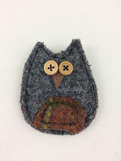 Harris tweed fabric owl brooch/pin. by fabricatethings on Etsy