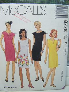 SALE McCall's 8778 Women's Sewing Pattern, Misses' Semi Fitted Sheath Dress, Neckline Variations and Back Zipper, Plus Size Pattern Destash
