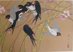 shidareyanagi ni ore tsubame (chuushun)  Weeping Willow and Flock of Barn Swallows (Mid Spring)