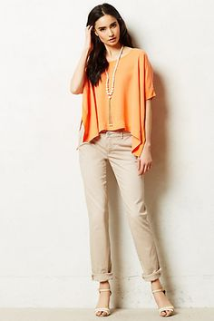 Pilcro Hyphen Chinos #anthropologie skinny chinos with drapey top and long necklace