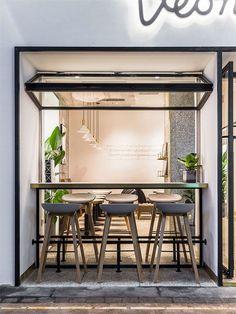 Tea shop on Behance Cafe Shop Design, Coffee Shop Interior Design, Restaurant Interior Design, Design Café, House Design, Indoor Outdoor Kitchen, Architecture Restaurant, Deco Restaurant, Cafe Concept