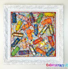 Quadro moderno collage Bombolette di vernice spray tagliate ed incollate su tela- Acquista su www.colorscrazy.it