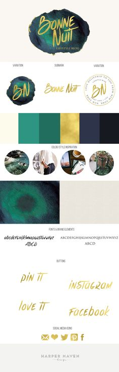 Bonne Nuit - Lifestyle Blog brand design board by Harper Maven Design.