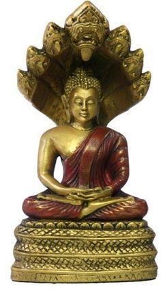 Small Naga Buddha, Gold and Red Finish
