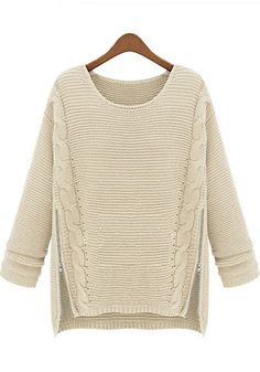 Apricot Plain Zipper Round Neck Loose Acrylic Sweater