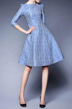 Slash Neck Jacquard Midi Dress
