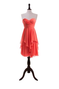 Inviting Sweetheart Short Chiffon Dress With Ruffled Hemline