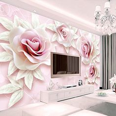 beibehang Custom wallpaper large mural wall stickers fresh and simple embossed pink rose TV backdrop wall papel de parede 3d Wallpaper Decor, Bedroom Background Wallpaper, 3d Wallpaper For Walls, Photo Wallpaper, Custom Wallpaper, Living Room Wall Designs, Small House Interior Design, Wall Painting Decor, Bedroom False Ceiling Design