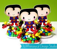 Super Hero Man Inspired Candy Favor Containers by itzwhimzeycal, $18.50