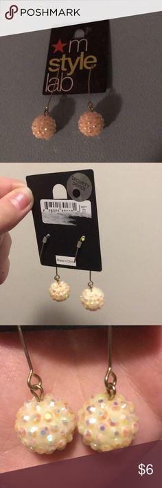 White Earrings New, never worn, Macy's cream disco ball earrings Macy's Jewelry Earrings