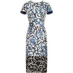 Carolina Herrera Floral Printed Sheath Dress ($2,490) ❤ liked on Polyvore featuring dresses, floral print dress, white dress, jacquard dress, white floral dress and carolina herrera dresses