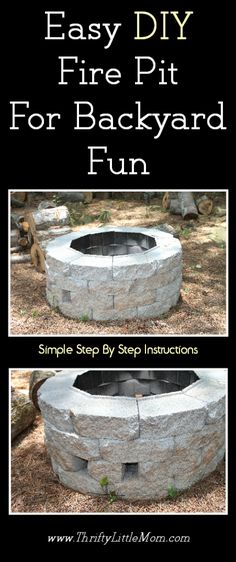 Looking to build a firepits backyard or need backyard fire pit ideas?  This post includes step by step instructions for building a fire pit with diagrams and measurements.  It's really simple and only costs less than $60.