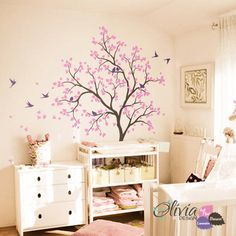 Large tree wall decal birds custom colors by theOliviaDesign, $98.00