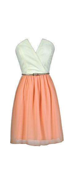 Tulip Garden Strapless Belted Dress in Ivory/Peach  www.lilyboutique.com