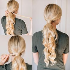 BAREFOOT BLONDE HAIR | low ponytail | loose curls | Amber Fillerup Clark | braid